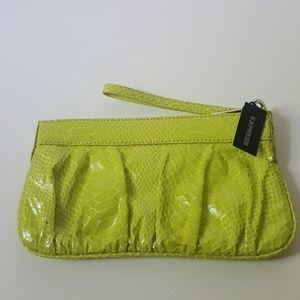 NWT Express Lime Green Snake Skin Design Wristlett